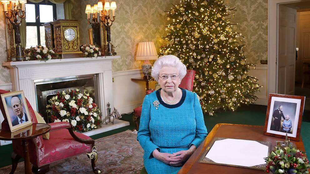 Drottning Elizabeth på en bild från Buckingham Palace 25 december 2016.