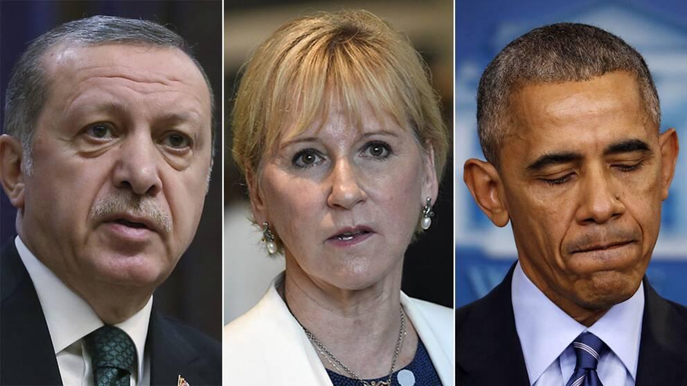 Tayyip Erdogan, Margot Wallström och Barack Obama.