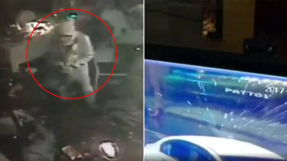 Övervakningsbilderna visar hur mannen går runt inne i nattklubben och skjuter mot bilar utanför.