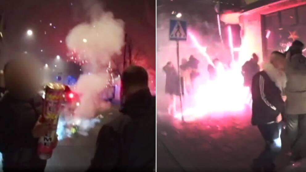 Raketer smällde mitt på gatan, mitt bland folksamlingar vid Möllevångstorget i Malmö under nyårsnatten.