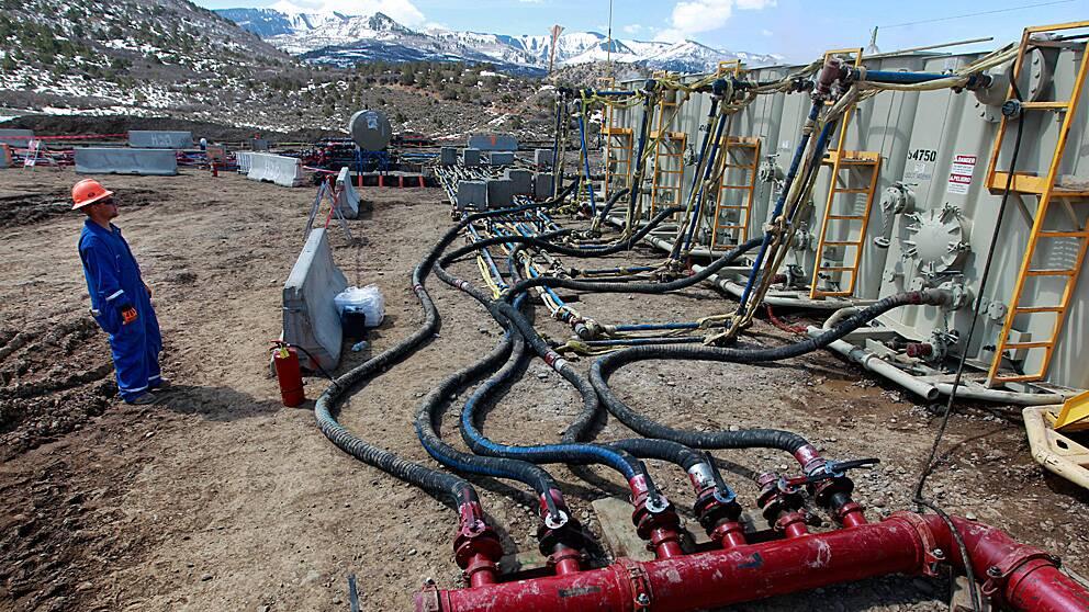 En av många platser i USA där olja och gas utvinns med fracking är här, utanför Rifle i västra Colorado.