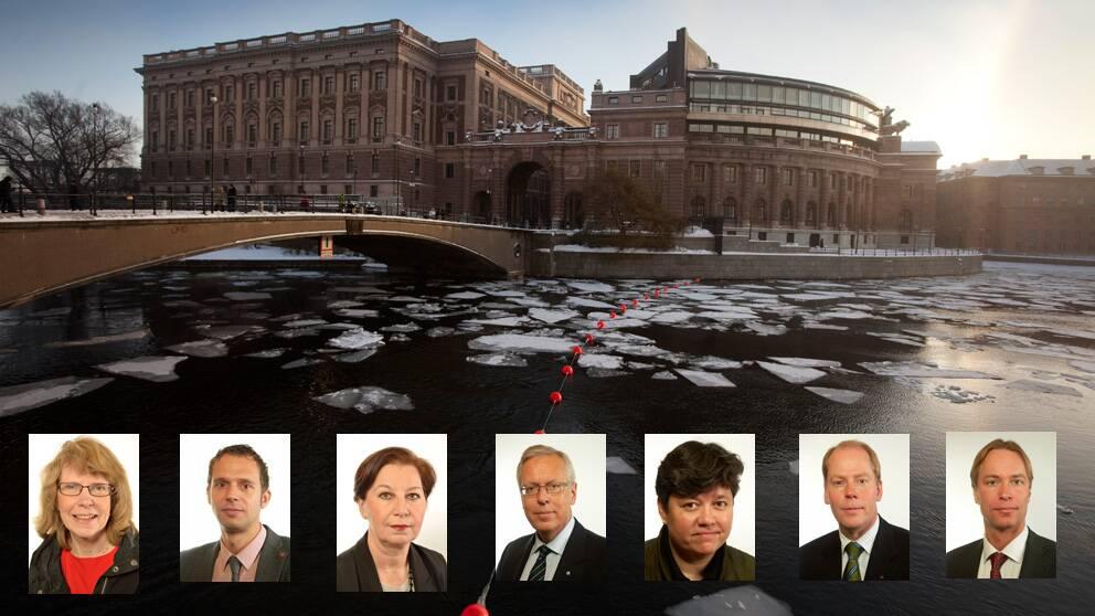 Inger Fredriksson (C), Jens Holm (V), Anna Hagwall (SD), Mats Odell (KD), Eva Flyborg (FP) Johan Johansson (M), Jonas Eriksson (MP). Saknas på bilden gör Erik Gutiérrez-Aranda (S).