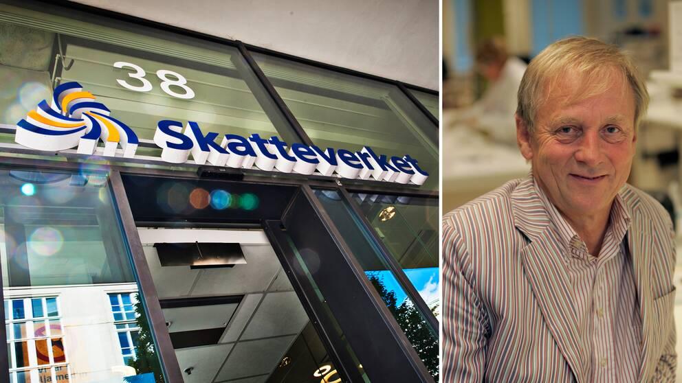 Fotomontage. Till vänster en bild på en entré till skatteverket. Till höger ett porträtt på Bengt Ågerup.