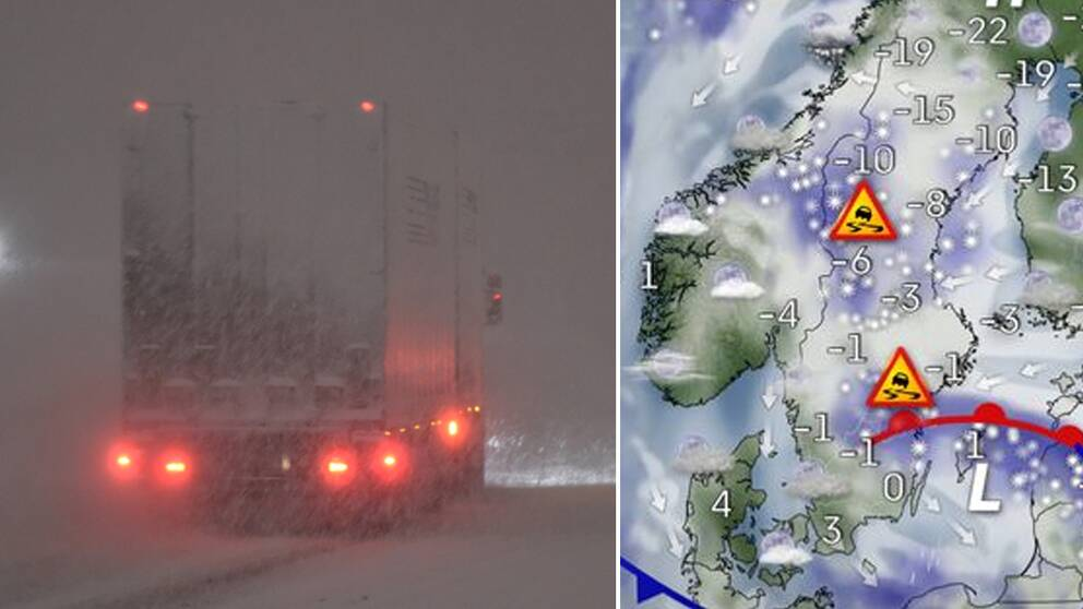 En lastbil i snöovädret samt en väderkarta över Sverige.