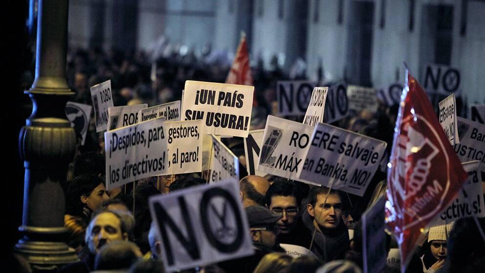 Protester i Spanien mot åtstramningspolitiken