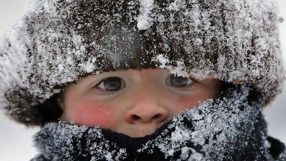 närbild på litet barn med stor mössa och halsduk, snöig