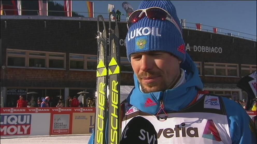 Sergej Ustiugov efter dagens seger.
