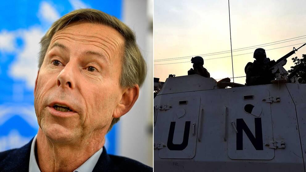 En bild på Anders Kompass och en bild på två FN-soldater i Centralafrikanska republiken