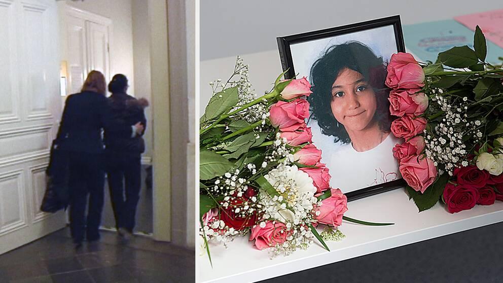 Yaras mamma på väg in i rättssalen tillsammans med sin advokat och ett foto på Yara