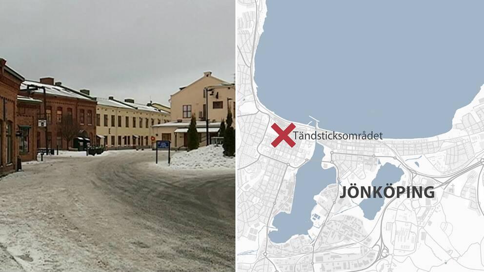 Tändsticksområdet. Karta över Jönköping.