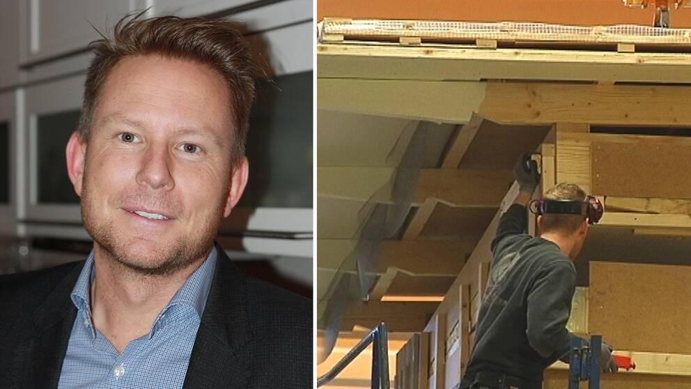 Pontus Eklind, vd för Hjältevadshus och en bild från hustillverkning