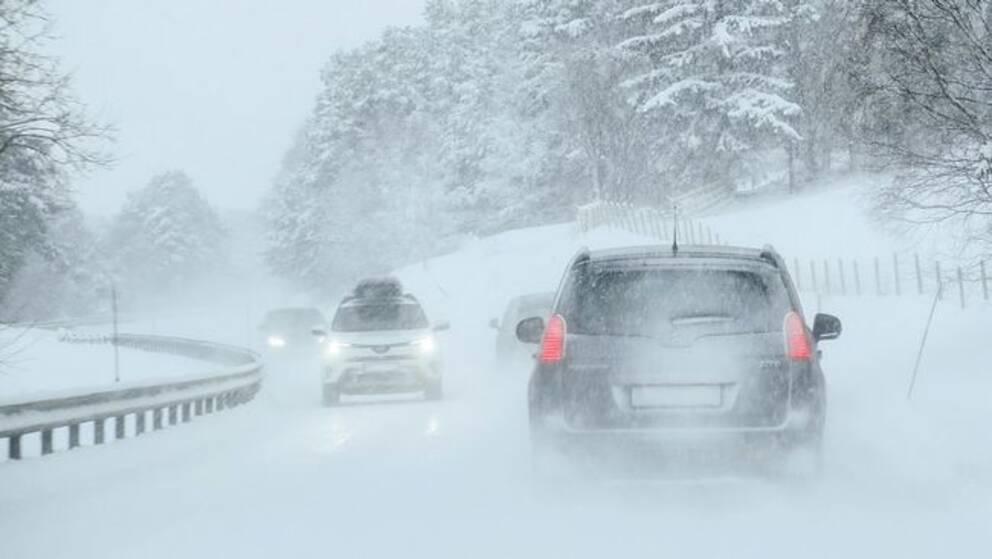 Sno och vind orsakade trafikkaos