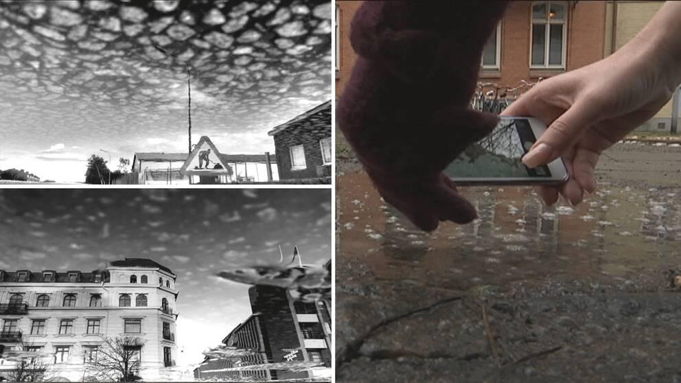 Helsingborgskonstnären Sanja Matoničkin ser nya bilder av Helsingborg i stadens vattenpölar.