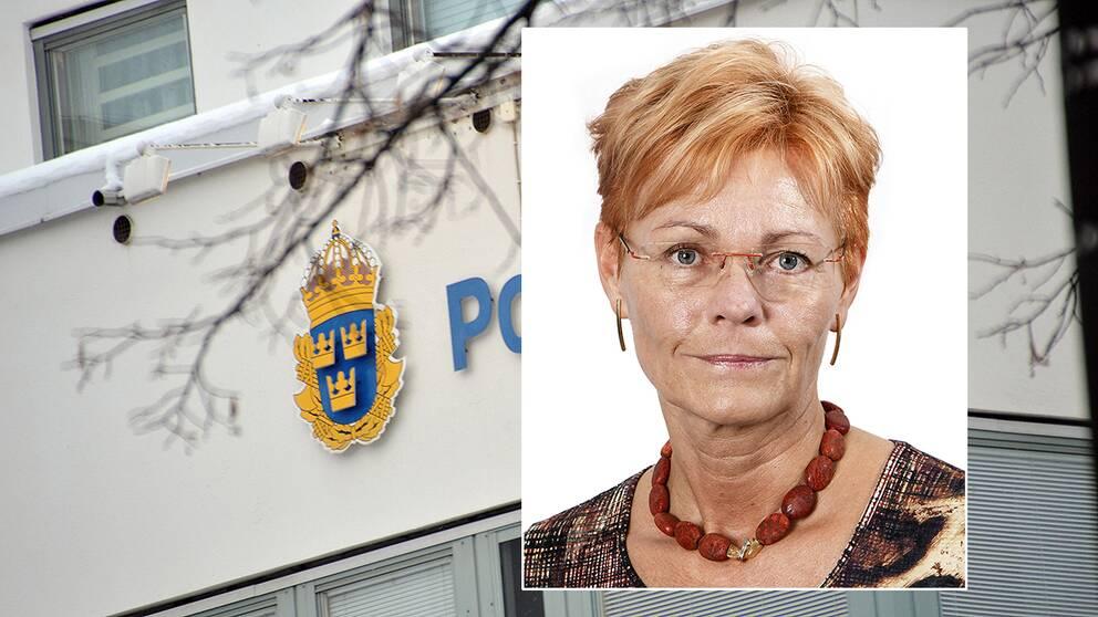 Kvinna framför polishusfasad
