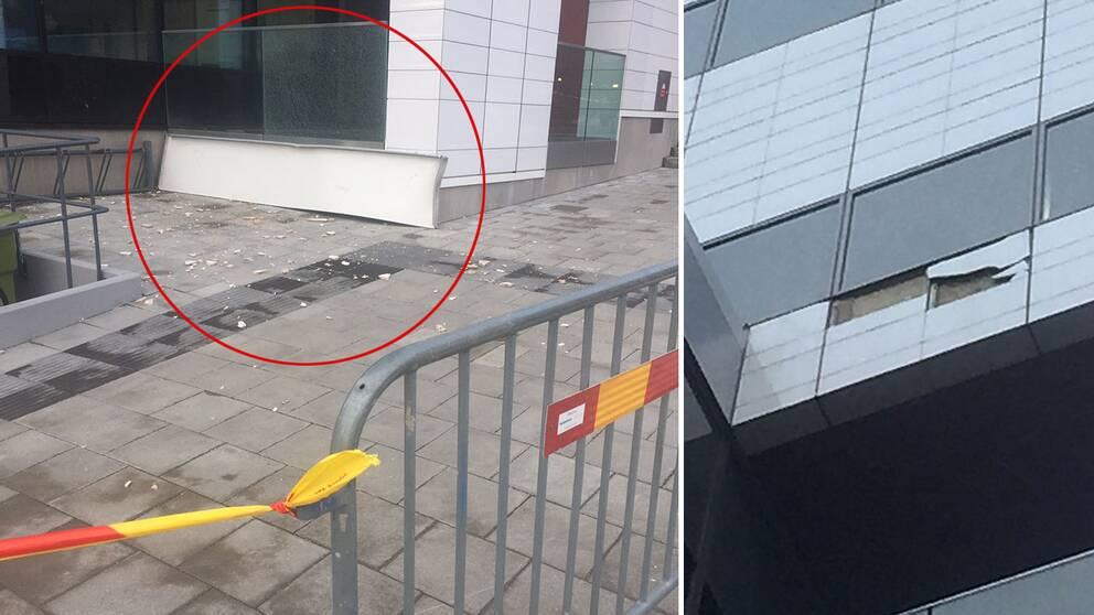 Plåtbiten som var ca tre meter lång föll ner från Karolinskas fasad.