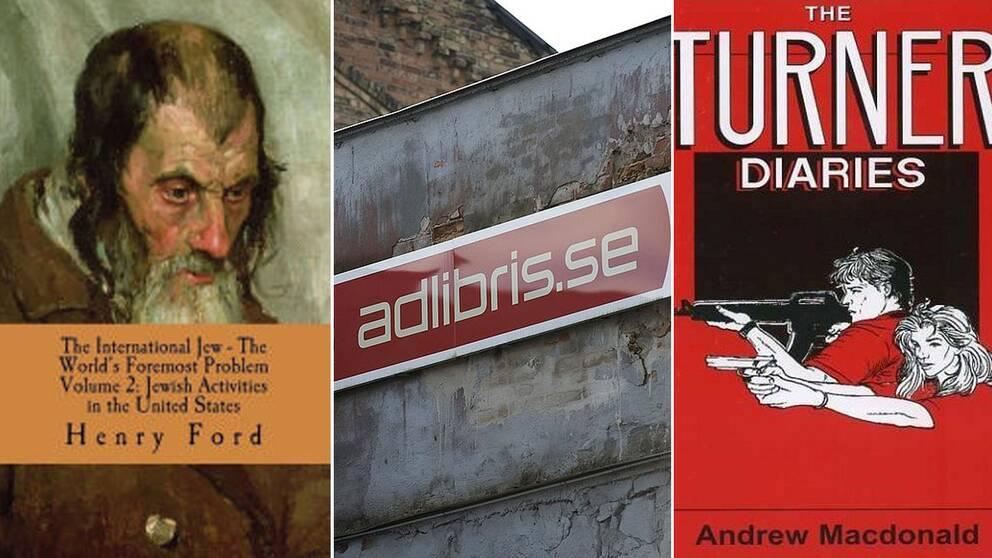 Omslag av böckerna The international Jew, The Turner Diaries och en adlibris-logga-