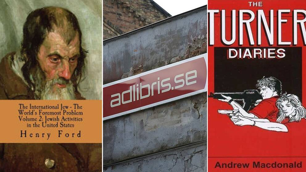Omslag av böckerna The international Jew, The Turner Diaries och en adlibris-logga-