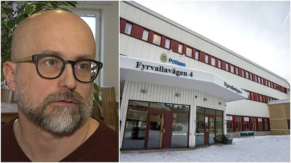 Chefsåklagare Stefan Ekeroth, och en exteriör på polishuset i Östersund