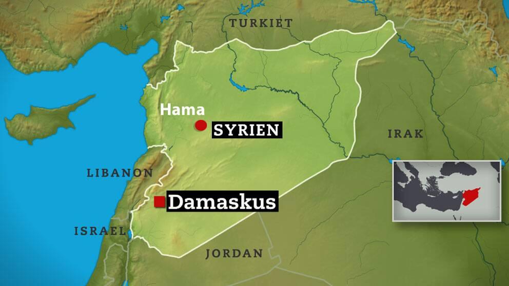 Karta över Syrien. Attacken skedde nära staden Hama.