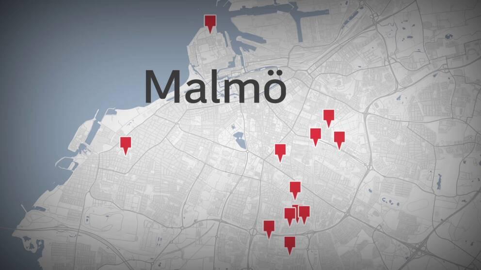 Karta över Malmö