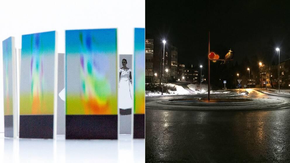 """Rondell Skisser från vänster till höger Felice Hapetzeders förslag """"Wilhelmina"""" Linda Shammas förslag """"Mina paradisfåglar"""""""