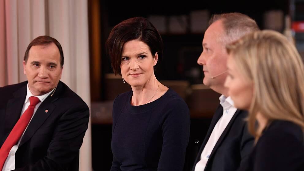 Partiledarna Stefan Löfven (S), Anna Kinberg Batra (M), Jonas Sjöstedt (V) och Ebba Busch Thor (KD).