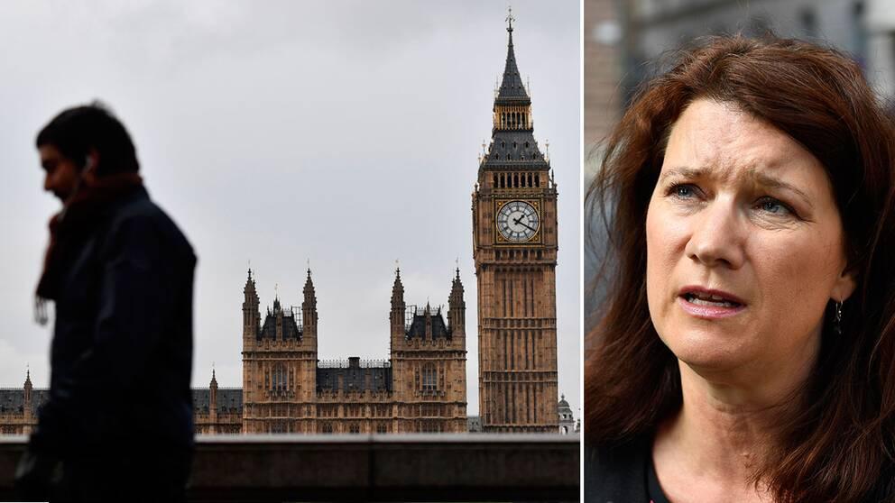 Vy över Westminster i London samt EU- och handelsminister Ann Linde.
