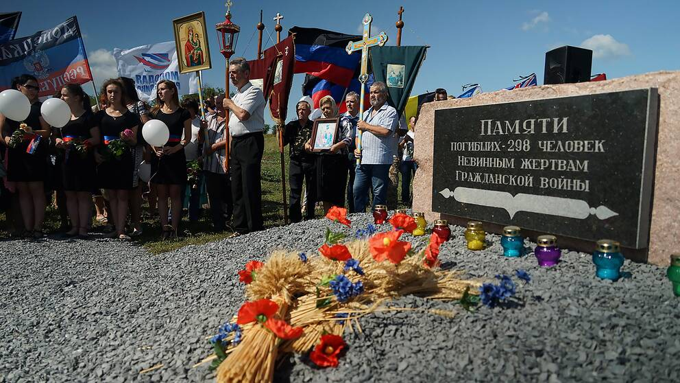 En minnesceremoni i byn Hrabove i östra Ukraina 17 juli 2015 över offren från det malaysiska planet MH17.