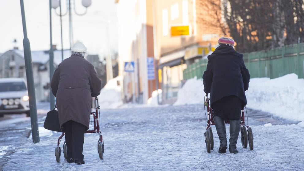 Pensionärer på promenad.