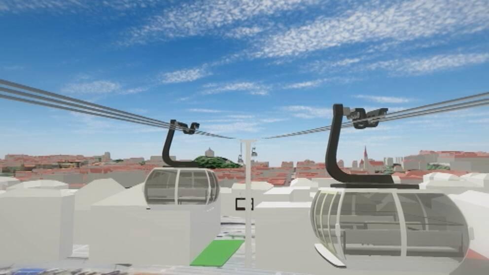 Så här kan linbanan över Göteborg komma att se ut.