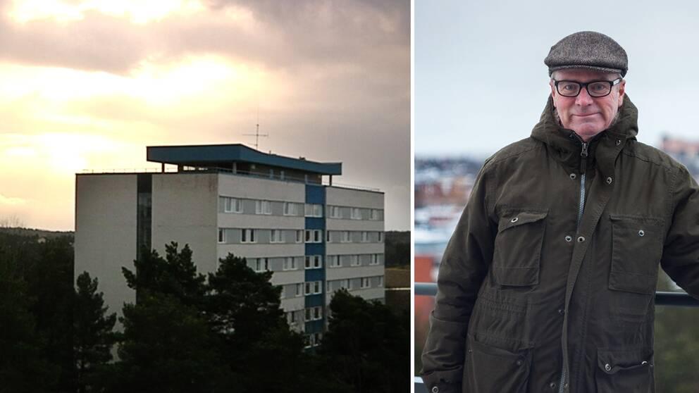 fotomontage. en bild på flogsta höghus, en ett porträtt på Matts Dahlkwist.