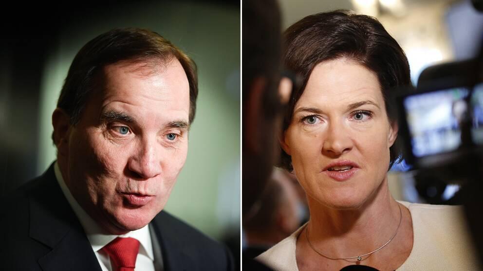Statsminister Stefan Löfven (S) och M-ledaren Anna Kinberg Batra.