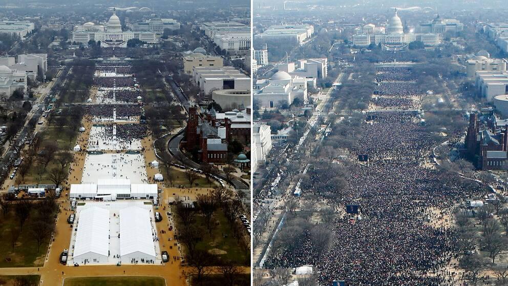 2 flygbilder bredvid varandra av folkmassor