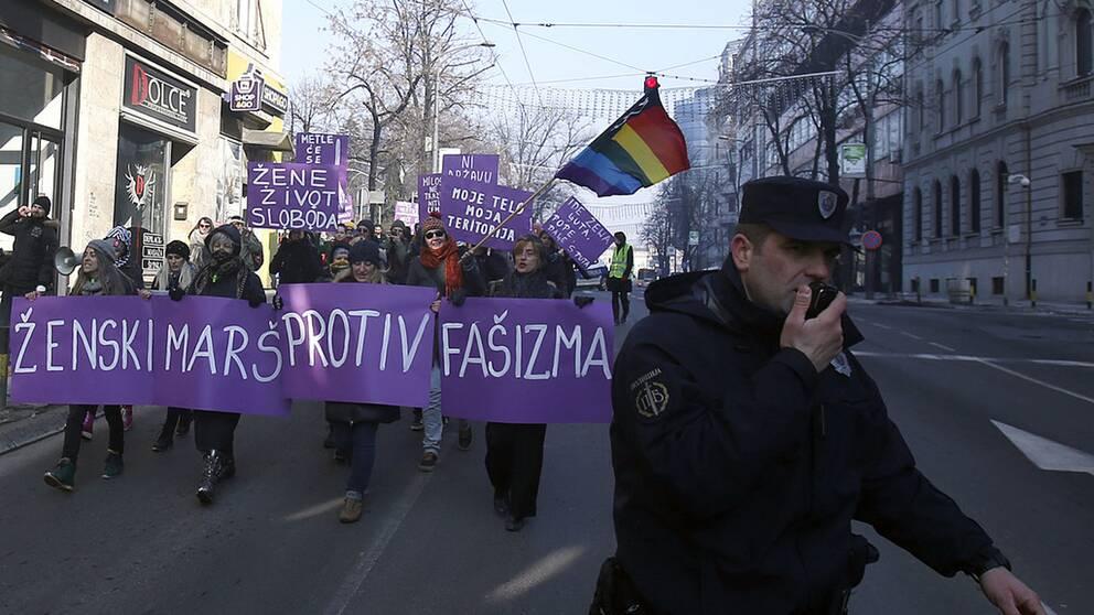 Demonstrationer i Belgrad, Serbien.