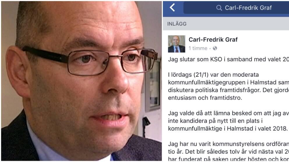 Kommunstyrelsens ordförande Carl-Fredrik Graf meddelande på lördagen via facebook att han inte kommer kandidera nästa år.