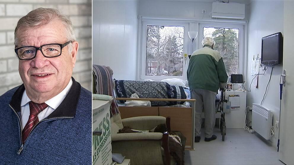Delad bild: Bild 1: Jan Dolk (KD), ordförande i vård- och omsorgsnämnden Värmdö. Bild 2: Containermodulerna.