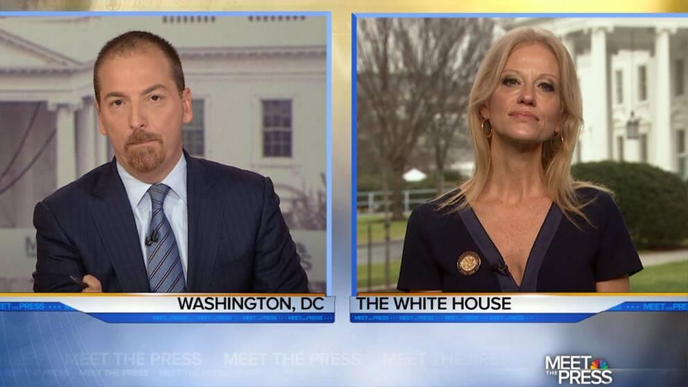 """Kellyanne Conway är en politisk strateg som Donald Trump valt till sin närmaste rådgivare. Här förbereder hon sig för intervjun med NBC:s """"Meet the press""""."""