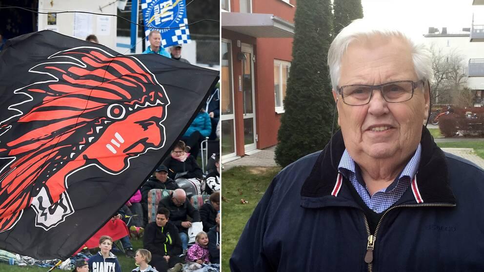 Speedwayklubben Indianernas logga på en flagga och ordförande Dan-Åke Moberg i ett montage