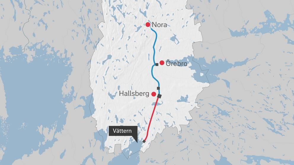 En del av Vätternvatten-projektet är att borra en bergtunnel mellan Vättern och Hallsberg.