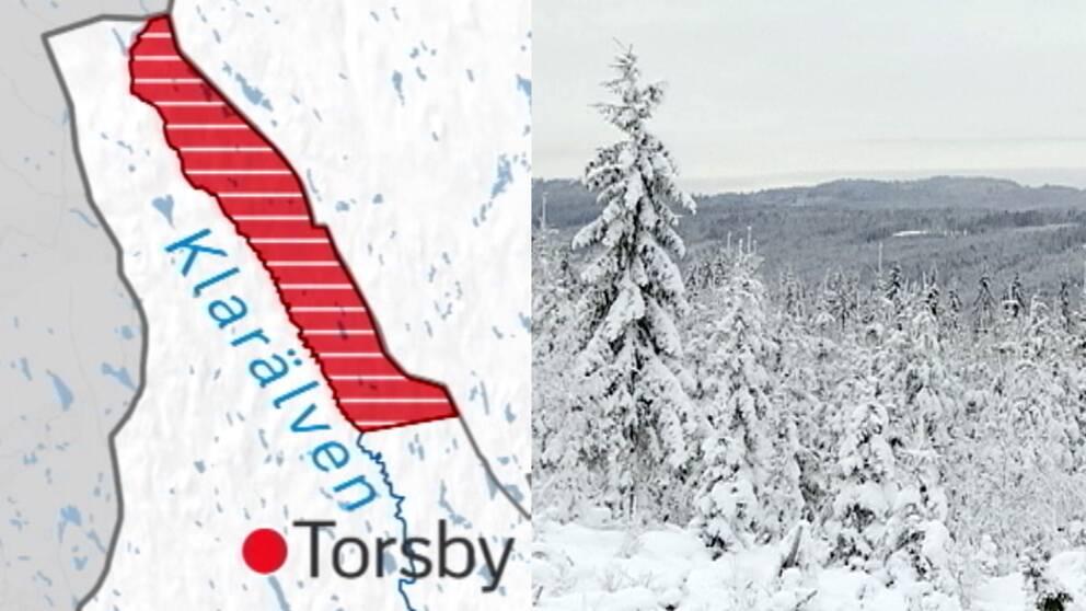 Revirkarta över nordöstra Värmland och en vybild över snöigt Värmland