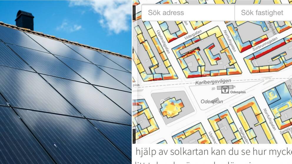 Delad bild: solceller på tak och en bild av solkartan som visar Odenplan.