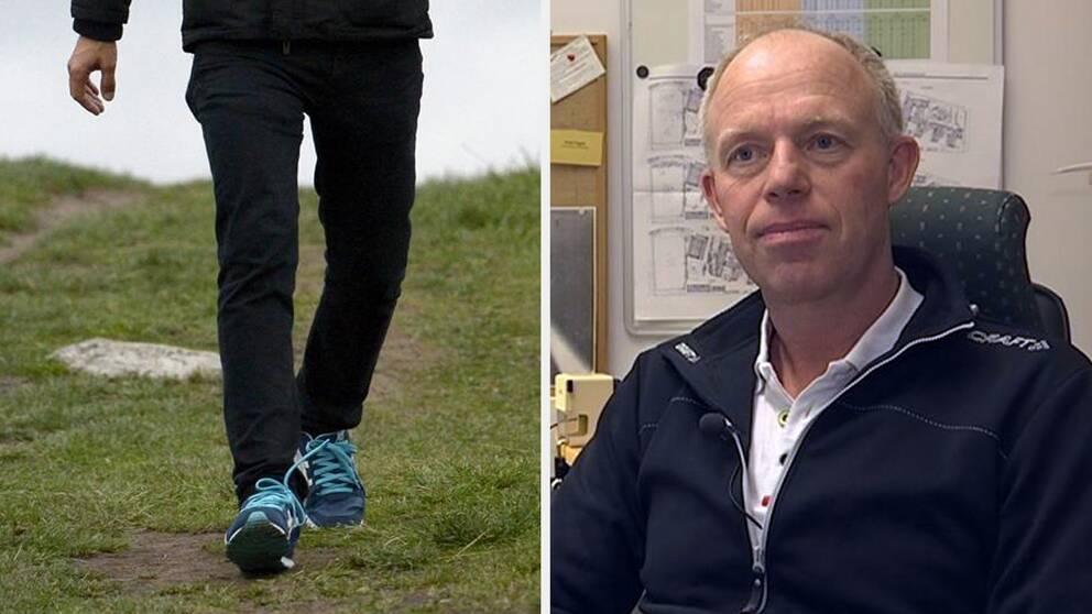 Motionär promenerar. Till höger bild på Peter Pagels, universitetsadjunkt i idrottsvetenskap.