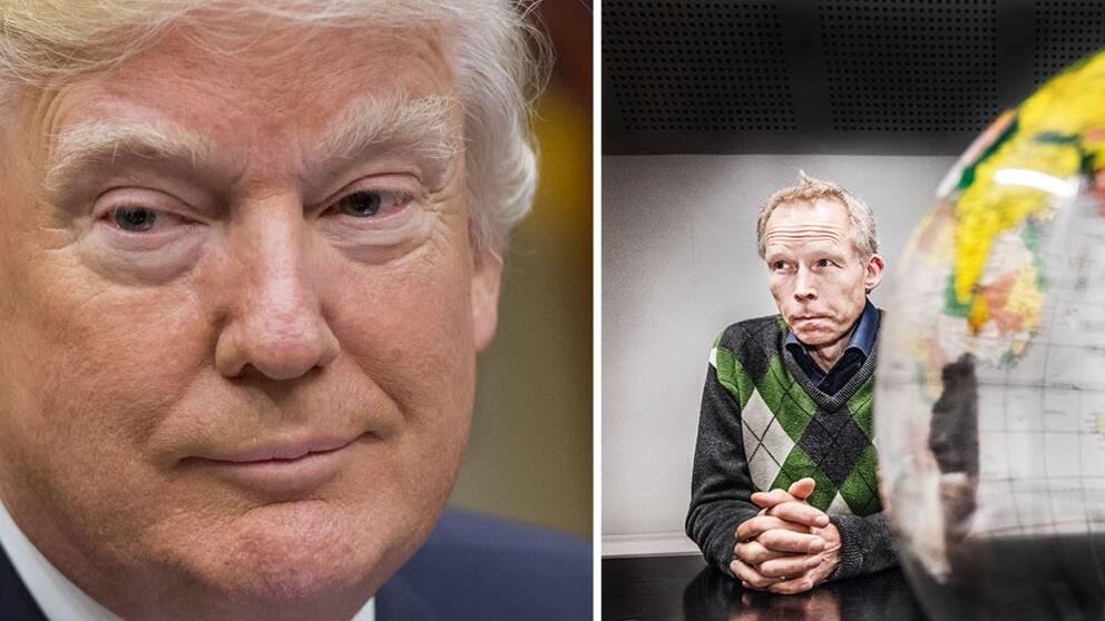 Donald Trump till vänster och Johan Rockström till höger.