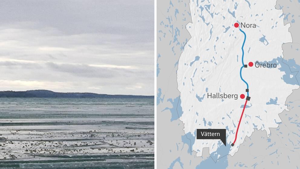 Karta och sjön Vättern