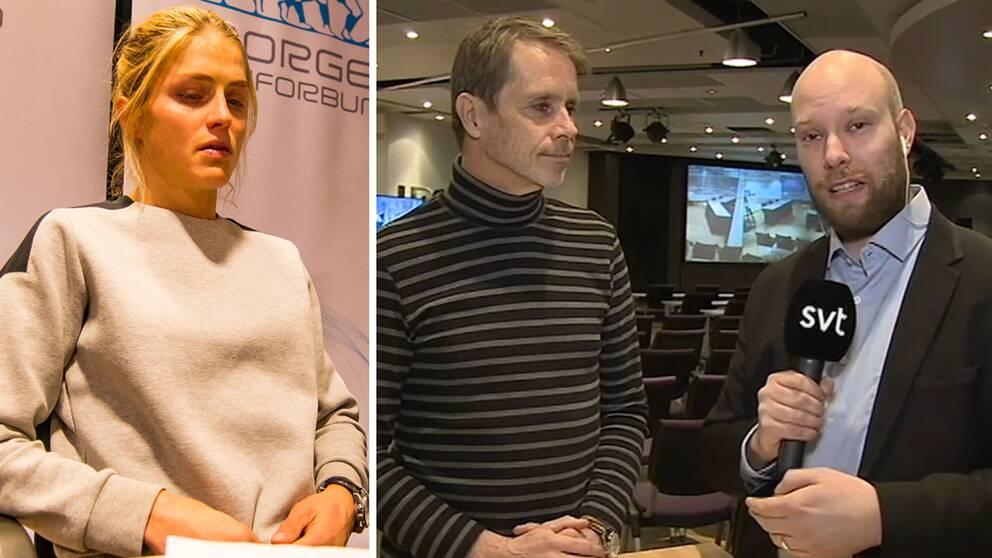 SVT Sport är på plats när Therese Johaug ska förhöras.