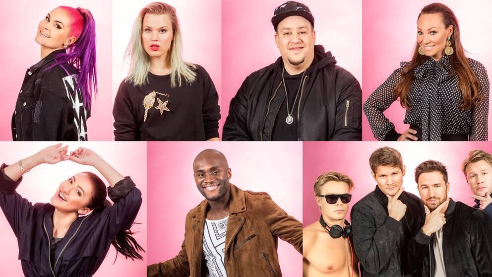 Artisterna i Melodifestivalens första deltävling 2017.