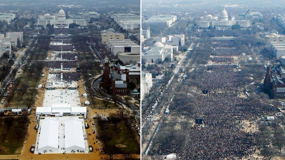 Bilen till vänster visar folkmassan som samlats för Trumps installationsceremoni i fredags, och bilden till höger togs då Obama svors in.