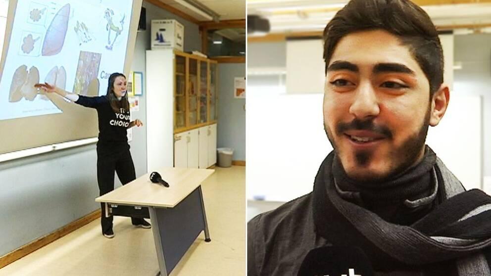 Bild på klassrum där läkarstudent står framför en tavla och elever. Och gymnasieeleven Osama Khalifa som tycker att antidrogkursen var mycket bra.