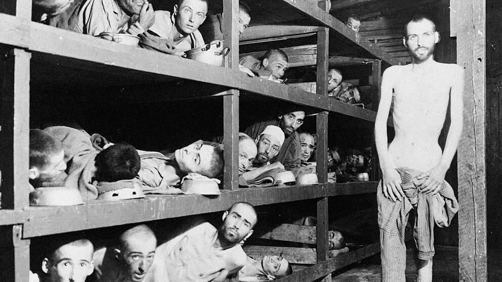 """SEKLET-KRIG OCH KONFLIKTER-40 Efter Hitlers maktövertagande 1933 började man systematiskt förfölja judarna i Tyskland. På Wannseekonferensen 1942 beslutade nazisterna om """"den slutglitiga lösningen på judefrågan"""", de skulle utrotas. Antalet offer för Förintelsen uppskattas till omkring 6 miljoner. De flesta gasades ihjäl och kremerades i koncentrationsläger. Bilden visar fångar i koncentrationslägret Buchenwald. (AP Photo) Code: 433 Elie Wiesel, författare. På denna bild från koncentrationslägret Buchenwald 1945-04-04 syns han längst till höger i den mittre sektionen, en 'våning' upp. ARKIV Elie Wiesel, at far right in the second row from the left and from the ground,, is shown with other slave laborers in the Buchenwald concentration camp near Jena, East Germany in this undated file photo. Many prisoners from the camp had died from malnutrition when U.S. troops of the 80th Division entered the camp April 16, 1946. COPYRIGHT SCANPIX SWEDEN CODE 433 Bild från SCANPIX SWEDEN Kod: 433/9909"""
