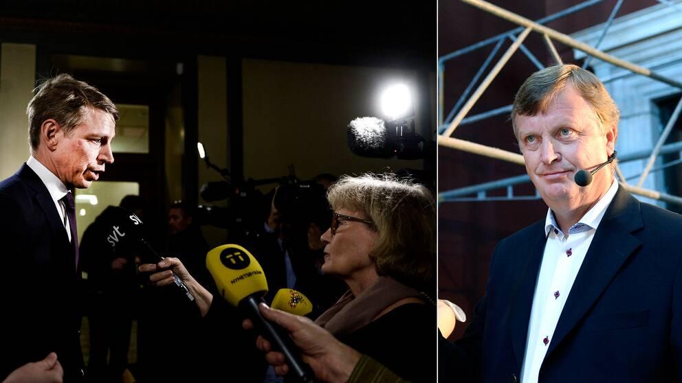 Finansmarknadsminister Per Bolund och Fastighetsverkets generaldirektör Björn Anderson
